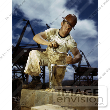 #19213 Photo of a Male Carpenter Working on the Douglas Dam in 1942 by JVPD