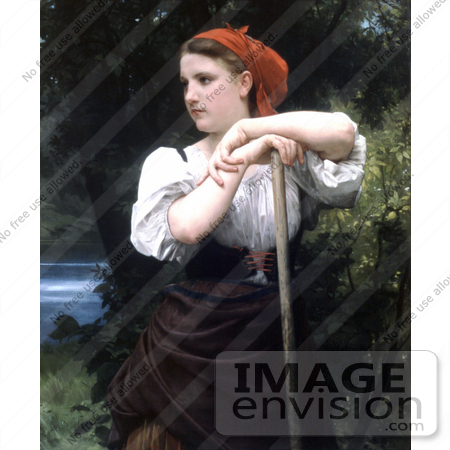 #19257 Photo of a Girl Raking Hay, the Haymaker by William-Adolphe Bouguereau by JVPD