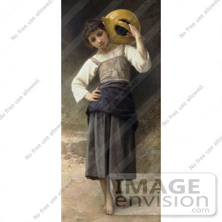 #19262 Photo of a Girl Carrying a Water Jar on Her Shoulder, by William-Adolphe Bouguereau by JVPD