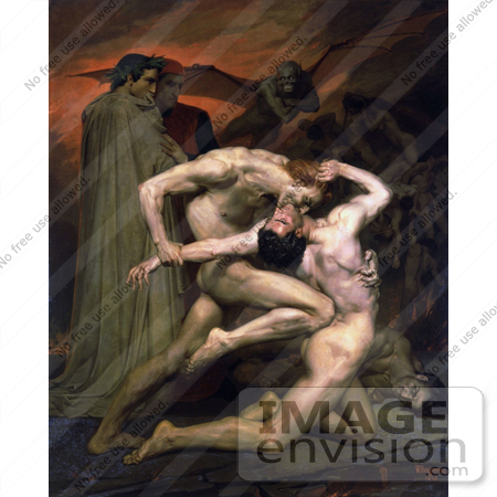 #19263 Photo of Men Fighting, Dante And Virgil In Hell, by William-Adolphe Bouguereau by JVPD
