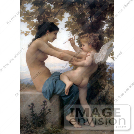 #19267 Photo of Cupid With an Arrow, Being Fought Off by a Young Nude Woman by William-Adolphe Bouguereau by JVPD