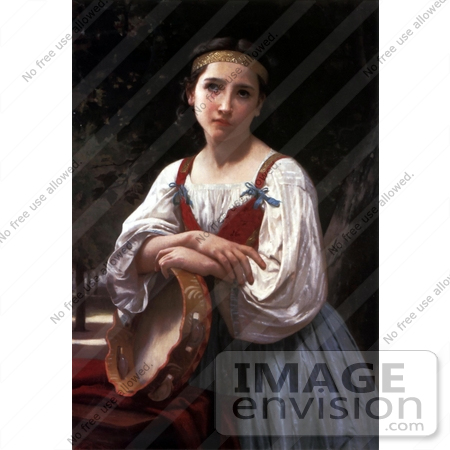 #19272 Photo of a Girl Leaning on a Tambourine Instrument, Gypsy Girl with a Basque Drum by William-Adolphe Bouguereau by JVPD