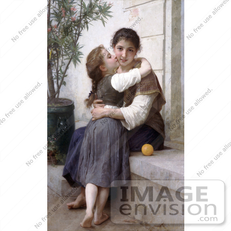 #19290 Photo of a Girl Kissing Her Mom's Cheek, a Little Coaxing, by William-Adolphe Bouguereau by JVPD
