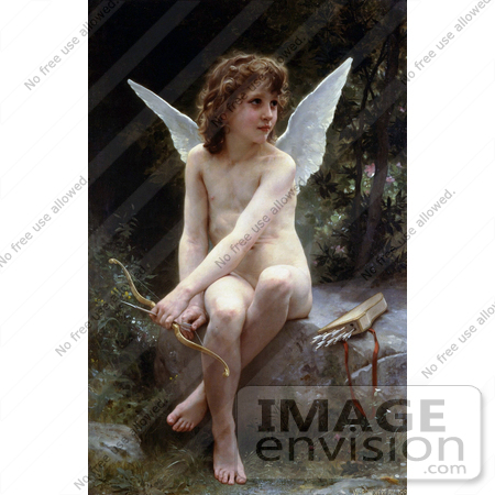 #19296 Photo of Cupid Seated With Bow and Arrows, Love on the Look Out, by William-Adolphe Bouguereau by JVPD