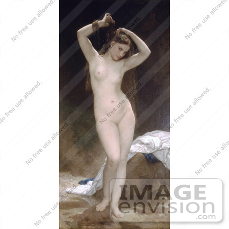 #19298 Photo of a Nude Woman Combing Through Her Long Hair With Her Fingers, Bather by William-Adolphe Bouguereau by JVPD