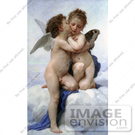#19309 Photo of Cupid and Psyche as Children, Kissing, by William-Adolphe Bouguereau by JVPD