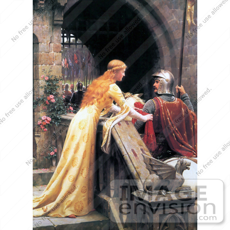#19318 Photo of a Long Haired Maiden Wishing Luck to a Knight on a Horse, God Speed by Edmund Blair Leighton by JVPD