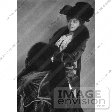 #19323 Photo of Alice Lee Roosevelt Longworth Sitting in a Chair, Wearing a Hat and Fur Muff by JVPD