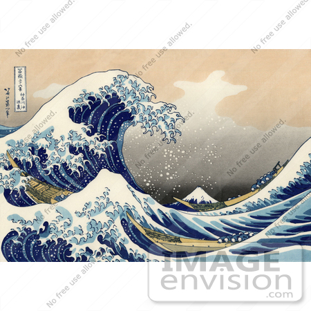 #19325 Photo of a Tsunami Wave Near Mount Fuji, The Great Wave off Kanagawa by Katsushika Hokusai by JVPD