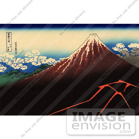 #19327 Photo of a Lightning Storm Near Mt Fuji, A Shower Below The Summit by Katsushika Hokusai by JVPD