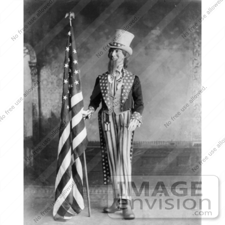 #19330 Photo of Uncle Sam Standing Beside the American Flag, 1898 by JVPD