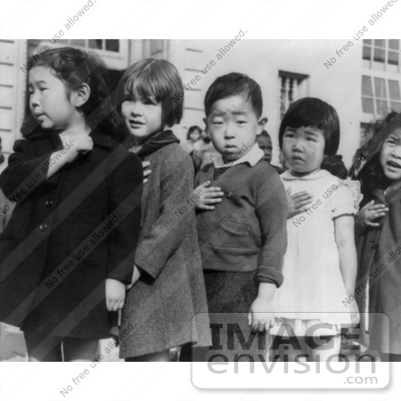 #19331 Photo of Japanese American Children Pledging Allegience to the American Flag by JVPD