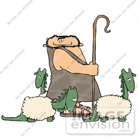 #19349 Sheep Dinosaur Shepherd Caveman Clipart by DJArt