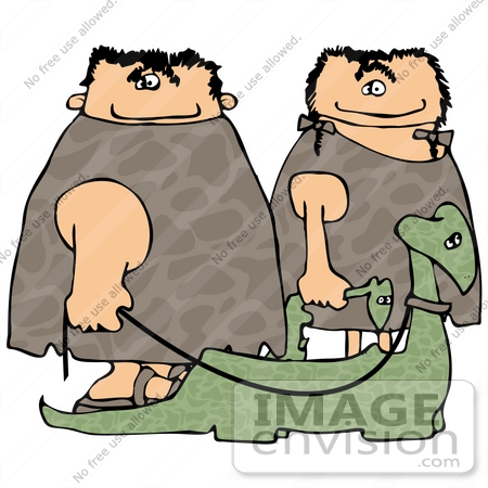 #19351 Caveman and Cave Woman Walking Their Pet Dinosaurs on Leashes Clipart by DJArt
