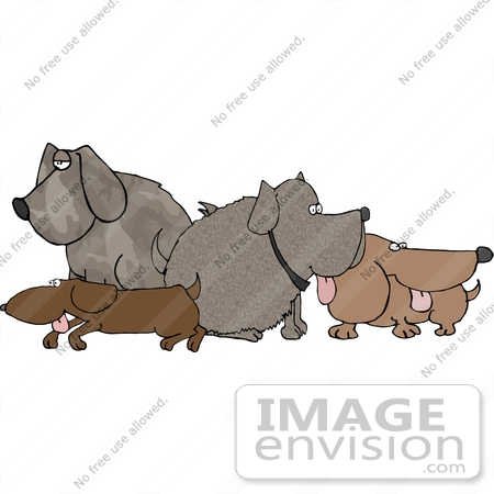 #19378 Group of Dogs Sticking Their Tongues Out at a Dog Park Clipart by DJArt