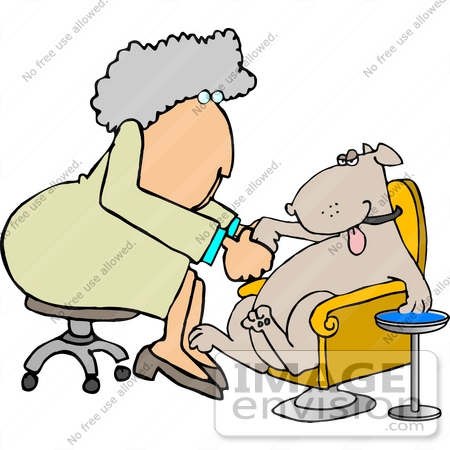 #19379 Female Dog Groomer Giving a Dog a Pedicure Clipart by DJArt