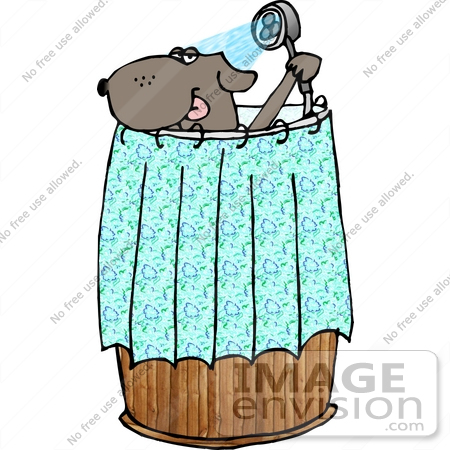 #19380 Dog Taking a Shower in a Wooden Barrel Clipart by DJArt
