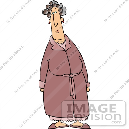 #19393 Woman in a Robe, Her Hair in Curlers Clipart by DJArt