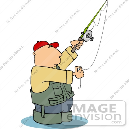 #19404 Man Wearing Fishing Gear, Wading in Water, Preparing His Hook Clipart by DJArt