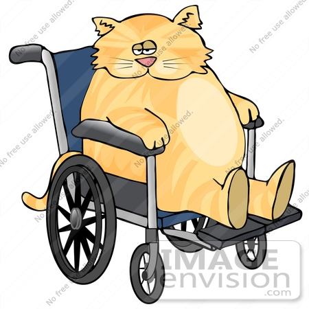 #19440 Fat Orange Tabby Cat in a Wheelchair Clipart by DJArt