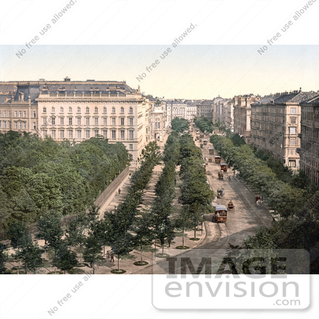 #19467 Stock Photo of the Opernring Hotel With Trollies in the Street, Vienna, Austria, Austro-Hungary by JVPD