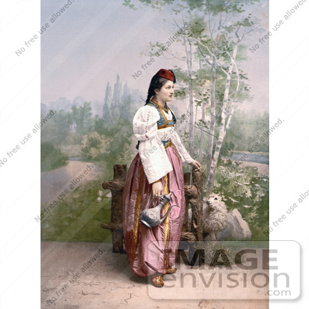 #19553 Photo of a Woman in Traditional Clothing, Standing by a Gate and a Sheep, Sarajevo, Bosnia by JVPD