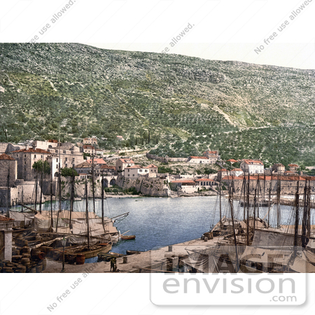 #19645 Photo of Ships at the Port at the Inner Gate in Dubrovnik, Ragusa, Adriatic Sea, Croatia by JVPD