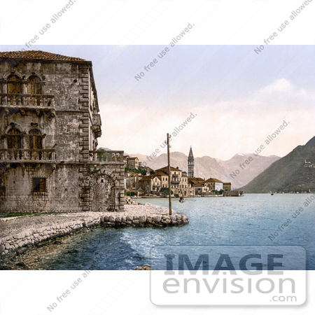 #19647 Photo of the Village of Perast With Stolievo on the Bay of Kotor in Montenegro by JVPD