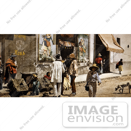 #19677 Photo of People and Dogs on the Sidewalk and Street in Tacubaya, Mexico by JVPD