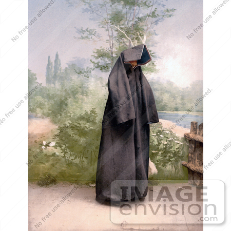 #19708 Photo of a Mahomedan Woman in a Cloak Covering Her Entire Body, Mostar, Herzegowina by JVPD