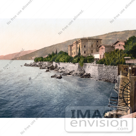 #19780 Photo of the Baths and Stairs on the Beach at Hotel Quarnero in Opatija, Abbazia, Sankt Jakobi, Istria, Croatia by JVPD