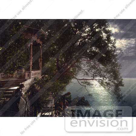 #19781 Photo of Chairs on a Gazebo Under Moonlight Near the Baths in Opatija, Abbazia, Sankt Jakobi, Istria, Croatia by JVPD
