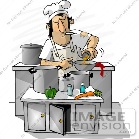 19863 Chef Man Smoking While Cooking In A Restaurant Kitchen Clipart By DJArt