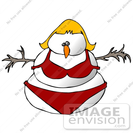 #19880 Clipart Ilustration of a Snow Woman in a Bikini by DJArt