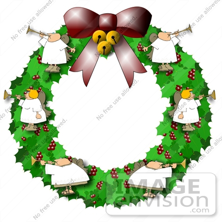 #19884 Clipart Illustration of Angels Blowing Horns on a Christmas Wreath by DJArt