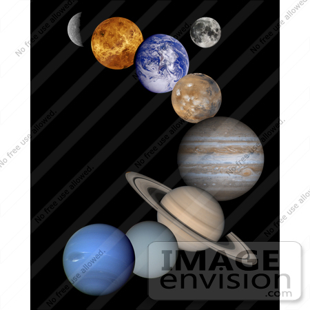 #20024 Stock Photography of the Solar System, Mercury, Venus, Earth, Moon