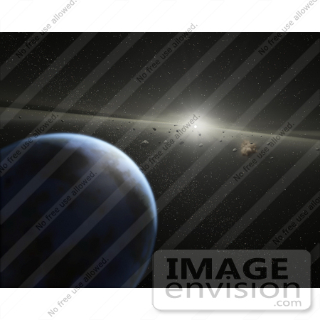 #20032 Stock Photography of an Asteroid Belt in Orbit Around a Star by JVPD