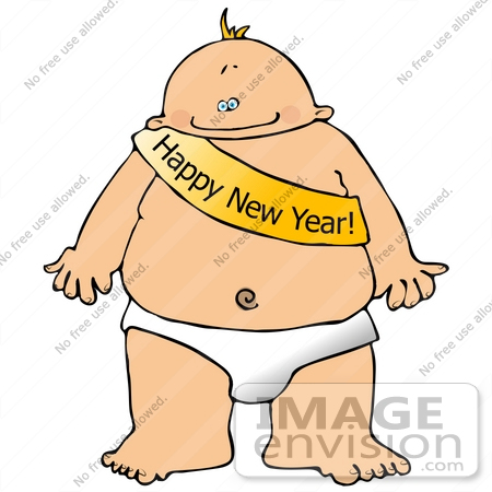 Royalty-free clipart of a new year's baby in a sash and diaper ...