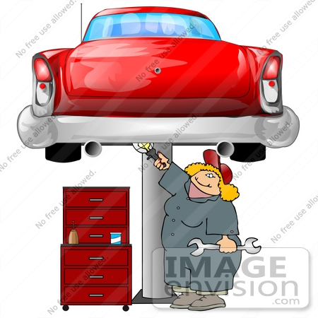 #20053 Blond Mechanic Woman Working on a Red Classic Car That is Raised on a Jack in a Garage Clipart by DJArt