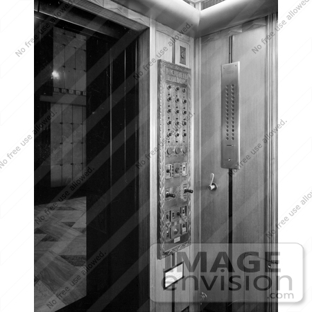 #20086 Stock Photo: Elevator Control Panel at the Richfield Oil Building by JVPD