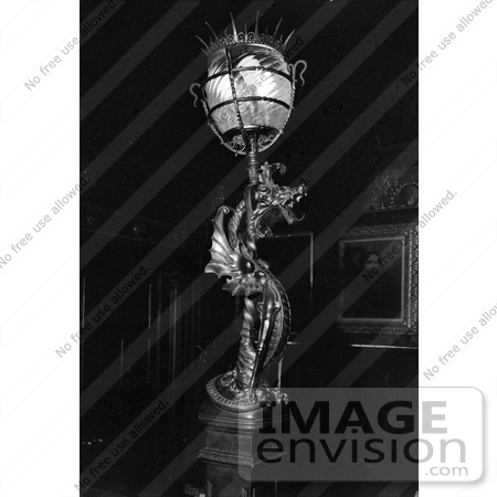 #20108 Stock Photo: Griffin Lamp on the Main Stair Newell at the Wilderstein by JVPD
