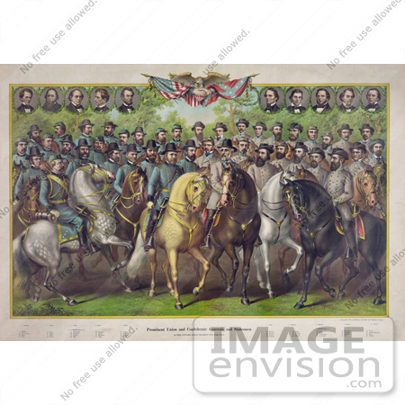 #20126 Stock Photography: Prominent Union and Confederate Generals and Statesmen on Horses by JVPD
