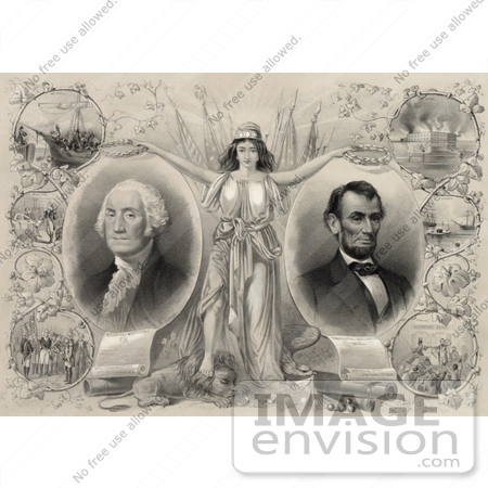 #20177 Stock Photo of Columbia Wtih Abraham Lincoln and George Washington by JVPD