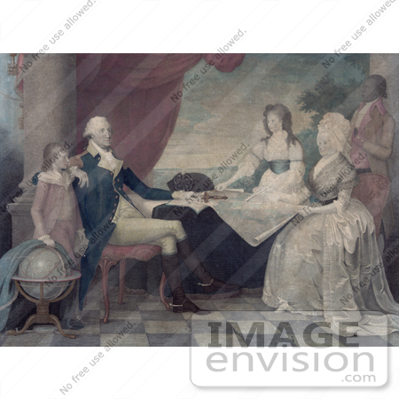 #20194 Stock Photography: George Washington, Family and Servant Around a Map at a Table by JVPD