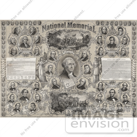 #20199 Stock Illustration: The Great National Memorial With American Presidents and Historical Events by JVPD