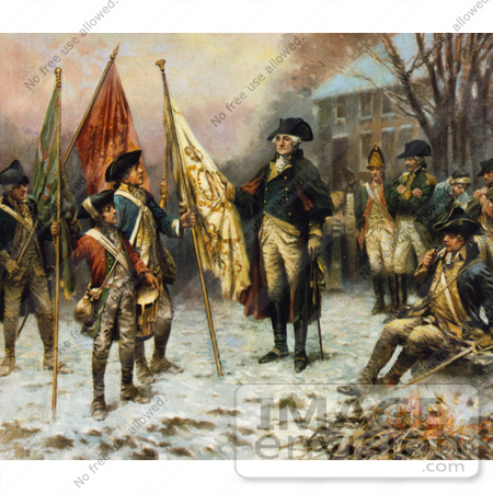 #20202 Stock Photography: General George Washington and Soldiers With Captured Flags by JVPD
