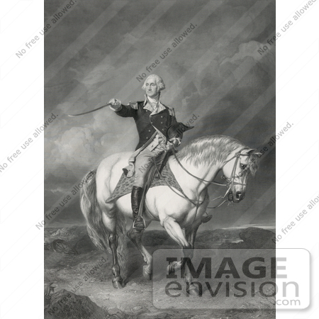 #20219 Stock Photography: George Washington on Horseback, Holding His Hat and Sword by JVPD