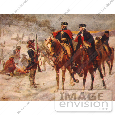 #20223 Stock Photography: George Washington and Marquis de Lafayette at Valley Forge by JVPD