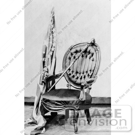 #20245 Historical Stock Photography: Abraham Lincoln's Cane on a Chair by a Flag by JVPD