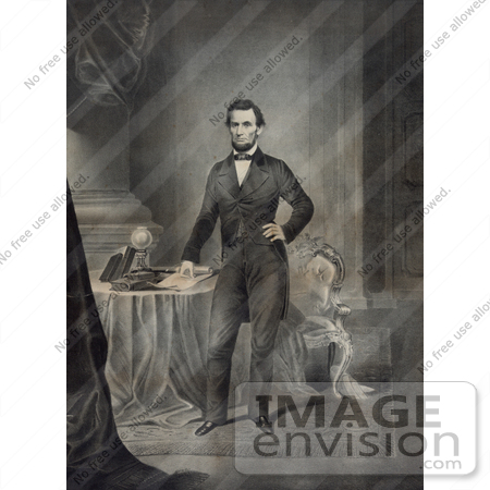 #20256 Historical Stock Photography: Abraham Lincoln Standing by a Table by JVPD